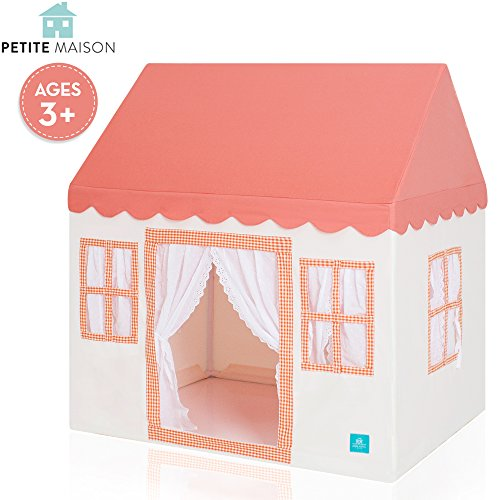 Kids Play House Tent, [Petite Maison] Hand Made Premium Quality Playhouse for Indoor & Outdoor, Light, Easy Assembly - Orange by Petite Maison