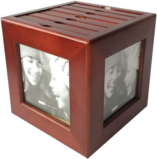 Soporte Giratorio de CD de Madera, Cafetería Ocio Bar El Centro Comercial de Gran Capacidad de Disco Caja de Almacenamiento - Tiene Alrededor de 72 Cds (Color : Brown, Size : 16 * 16 * 18cm): Amazon.es: Hogar