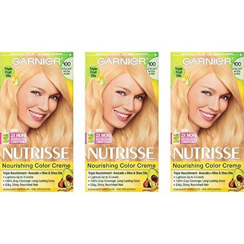 Garnier Nutrisse Nourishing Hair Color Creme, 100 Extra-Light Natural Blonde, 3 Count  (Packaging May Vary) (Best Garnier Hair Color)