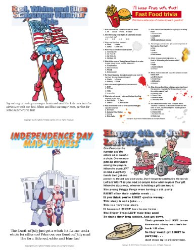 Printable 4th of July Party Games Pack [Download] by Python Printable Games