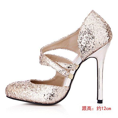 Les boîtes dans sandales or annuel on talon chaussures chip haut de chaussures Gold l'été femmes à nouvelles 0qnUr0x