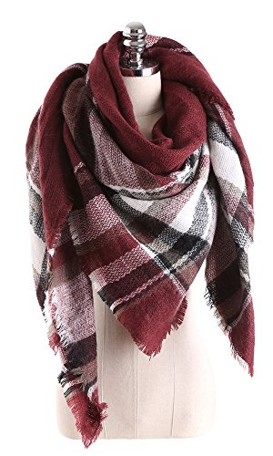 Women Tartan Scarf Stole Plaid Blanket Checked Scarves Wraps Shawl(Wine Red)
