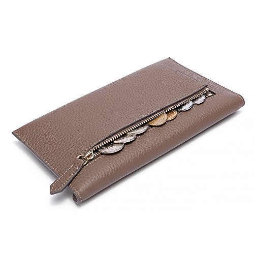 Holder Khaki Wallet Leather Coin Envelope Womens with Organizer Clutch Card Pocket Zipper Phone 1qOY7OxgWn