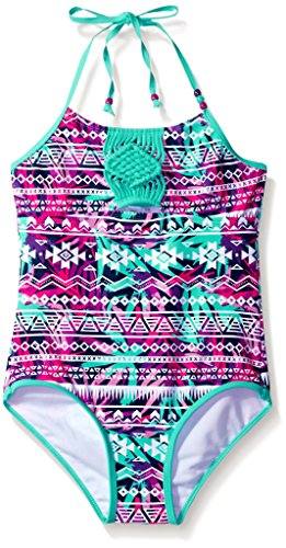 LiMiTeD Too Little Girls' Tropical Aztec Stripe 1pc Swim, Seafoam, 5/6