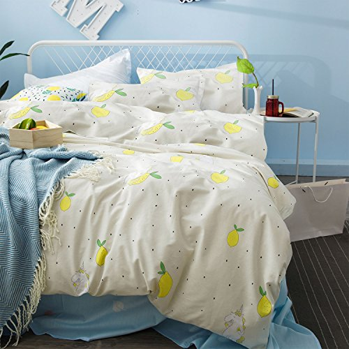 Lemon Unicorn Duvet Cover Set, 100% Soft Cotton Bedding with Pattern Printed, Great Gift for Girls Boys Kids Teens (3pcs, Queen - Pastel Cute