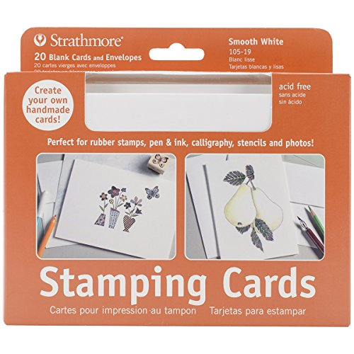 Strathmore (105-19-1 Full Size Stamping Cards, Smooth, Natural White, 20 Envelopes