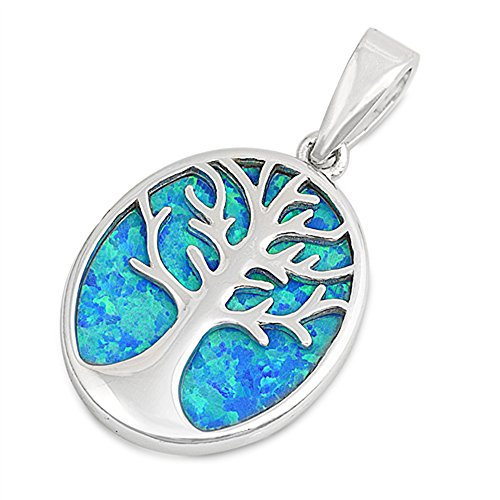 - Tree of Life Family Lab Created Blue Opal Inlay .925 Sterling Silver Pendant
