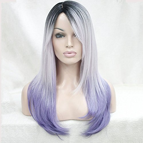 Strong Long Natural Straight Premium Japanese Kanekalon Ombre Silver Grey To Pastel Purple Hair (Wigs Purple)