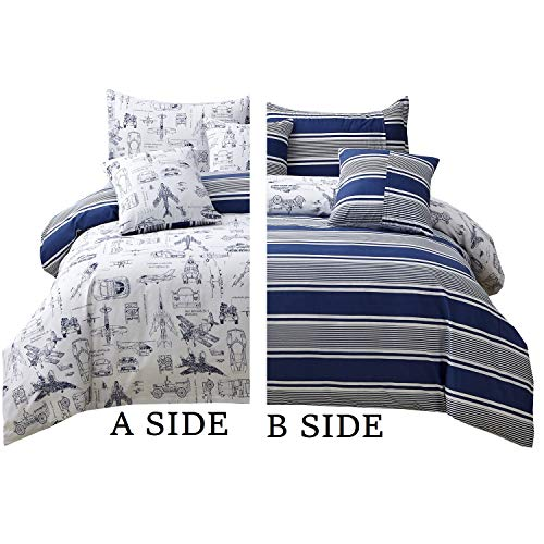 Brandream Boys Duvet Cover Set Queen Size Cars Tank Helicopter Aircraft Military Bedding Sets for Kids Teen Boy Children 100% Cotton Chritmas Gifts