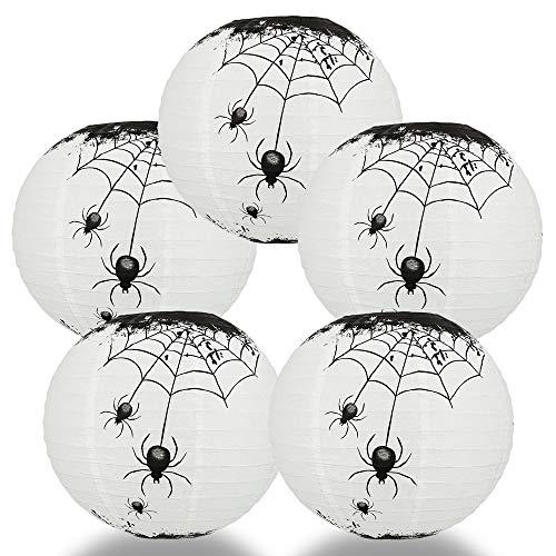 Quasimoon PaperLanternStore.com (5-Pack) 14 Inch Halloween Spiders Spooky Bug Webs Paper Lantern, Hanging Decoration]()