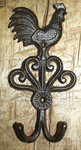 Vintage Antique Hooks Cast Iron Antique Style Rustic Rooster Coat Hook Brown Finish Chicken Hat Rack ()