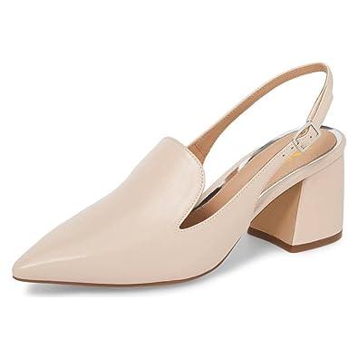 e7aa1e049a XYD Women Elegant Pointed Toe Slingback Pumps Block Heel Mule Sandals Slip  On Dress Shoes Size