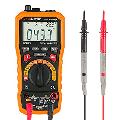 uxcell PEAKMETER Authorized Orange MS8229 Multifunction LCD Backlight Digital Multimeter Testing DC AC Voltage Current Ohm Frequency Lux Temp Humidity Meter