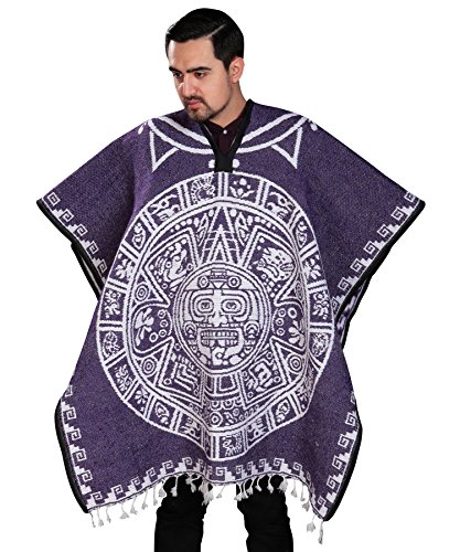 Authentic Mexican Poncho Reversible Cobija Blanket - Aztec Calendar (Navy (Square Design))