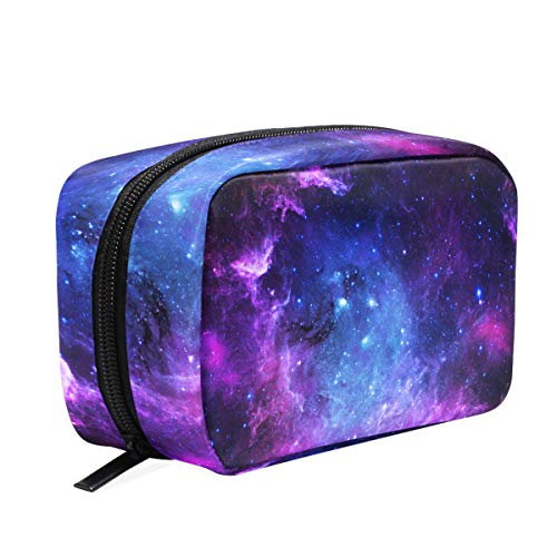 Purple and Blue Galaxy Makeup Bag Cosmetic Bag Toiletry Travel Bag Case for Women, Star Space Portable Organizer Storage Pouch Bags Box -
