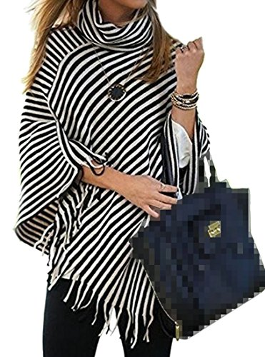 Papijam Womens Tassel Turtle Neck Pullover Striped Cape Shrug Sweater Black One Size Cowl Neck Striped Sweater