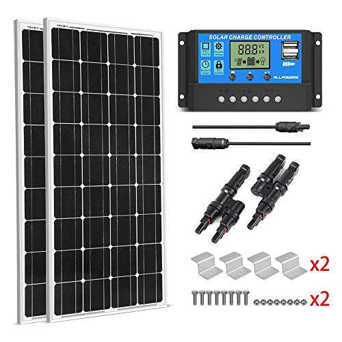 (SUNGOLDPOWER 200 Watt 12V Monocrystalline Solar Panel Module:2pcs 100W Monocrystalline Solar Panel Solar Cell Grade A +20A LCD PWM Charge Controller Solar+MC4 Extension Cables+2 Sets of Z-Bracket)
