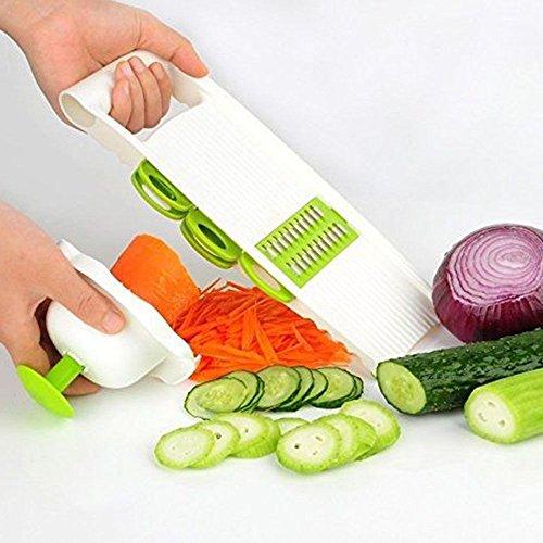 5 in 1 Adjustable Mandoline Vegetable Fruit Slicer Dicer Chopper Nicer Grater CN , blades! You can cut food into multi shapes you want - Prizm India