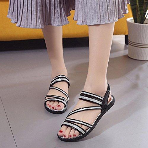 Sandalias Planas De Los Zapatos Cómodos Del Verano De Anxinke Para Las Mujeres Negras