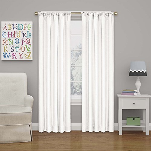 Eclipse 10707042X063WHI Kendall 42-Inch by 63-Inch Thermaback Room Darkening Single Panel,White (Curtains White Rod Pocket)