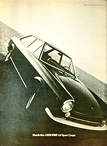 1968 Vintage Print Advertisement for Fiat 124 Sport Coupe | Match This $2878