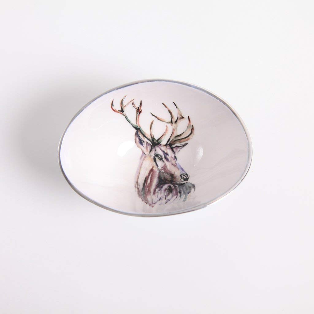 Beautifully made oval cast aluminium and enamel hand finished bowl with delightful Stag design - By Award winning Artist Meg Hawkins - fair trade bowl dish in a presentation box - ideal gift ornament perfect for keys and coins as well as nibbles and snack