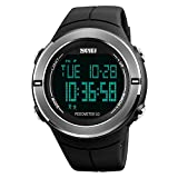 Mens Digital Sports Watch, SKMEI Pedometer Watches Military Waterproof with Stopwatch Alarm LED Mileage Data Storage