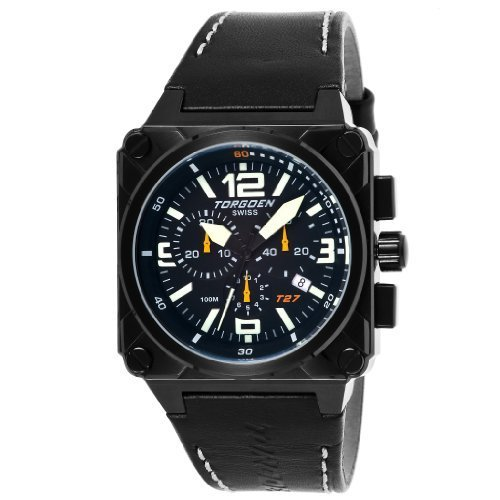Torgoen Men's Aviator Analogue Quartz Chronograph Watch T27101 With Leather Strap