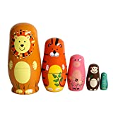 GoodPlay 5pcs Wooden Cute Cartoon Animal Nesting Doll Popular Handmade Kids Gifts Toy