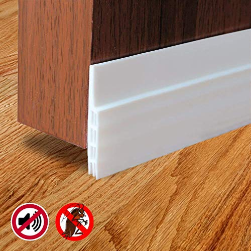 Energy Efficient Adhesive Under Door Silicone Sweep Weather Stripping Weatherproof Doors Bottom Seal Strip Insulation Door Draft Stopper Noise dustproof,2 Width X 39 Length