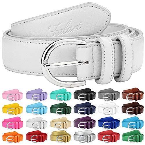 Falari Women Genuine Leather Belt Fashion Dress Belt With Single Prong Buckle 6028-LightGrey-S
