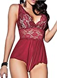JuicyRose Women Sexy Lingerie Teddies Sheer Lace Halter Babydoll Crotchless (US L/Tag XL, Red)
