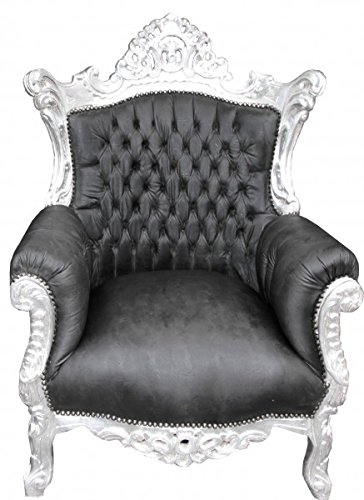 Casa Padrino Barock Sessel 'Al Capone' Schwarz Lederoptik/ Silber - Antik Stil