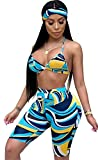 Molisry Women Sexy Bra Crop Tops Short Bodycon Pants Jumpsuits with Scarf 3 Piece Outfits