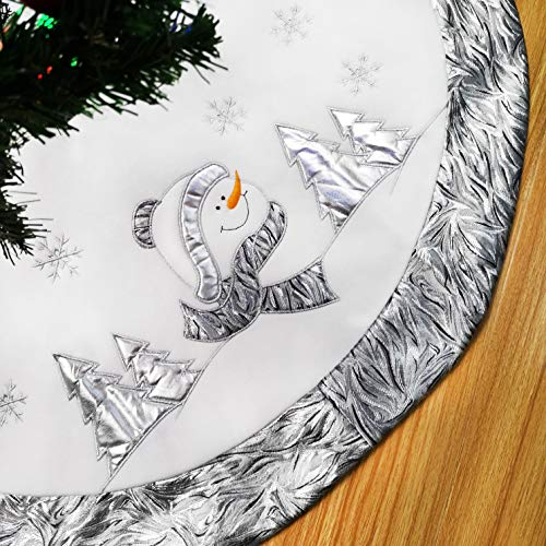WEWILL 36'' Luxury Silvery Christmas Tree Skirt with Satin Border Embroidered Snowman Snowflake, Xmas Tree Skirt Themed with Christmas Stockings(Not Included) ()
