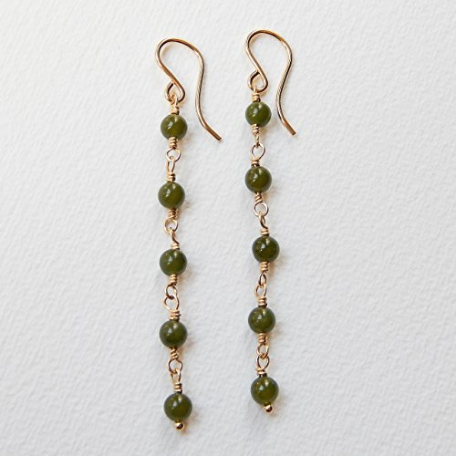 Nephrite Jade Earrings Gold Filled
