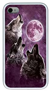 Three Wolf Moon in Purple TPU Case Cover for iPhone 4 and iPhone 4s White