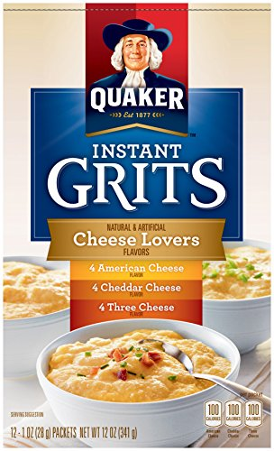Quaker Instant Grits Cheese Lovers, Variety Pack, 12-Count Boxes (Pack of 12) by Quaker