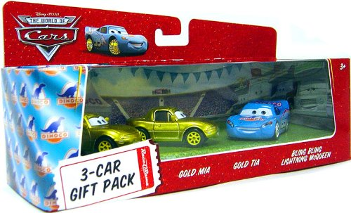 (Disney / Pixar CARS Movie 1:55 Die Cast Cars 3-Car Gift Pack Bling Bling McQueen, Gold Mia and Gold)