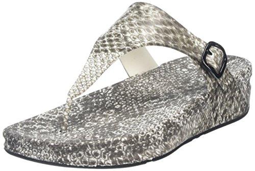Fitflop Womens Superjelly Leopard Flip Flop Svart / Vit Orm
