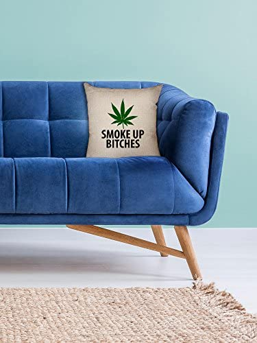 Hollywood Thread Smoke Up Bitches – Big Green Marijuana Leaf – Pot Weed Decorative Linen Throw Cushion Pillow Case with Insert