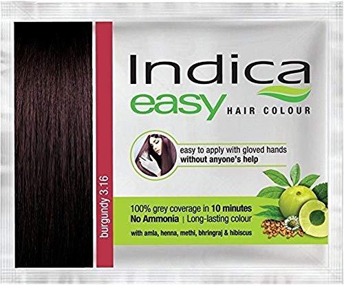 Nexxa 10 Pc Indica Easy10 Minutes Herbal Hair Color Shampoo Base Burgundy Herbs ()