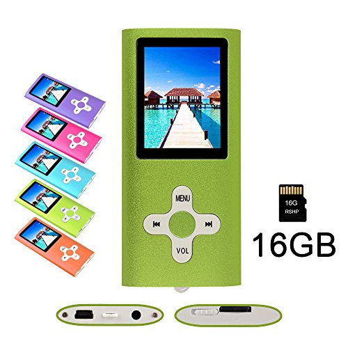 RHDTShop MP3 MP4 Player with a 16 GB Micro SD card, Support UP to 64GB TF Card, Rechargeable Battery, Portable Digital Music Player/Video/E-Book Reader, Ultra Slim 1.7″ LCD Screen, Green
