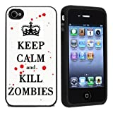 Rubber Keep Calm and Kill Zombies Case Cover for iPhone 4 4s