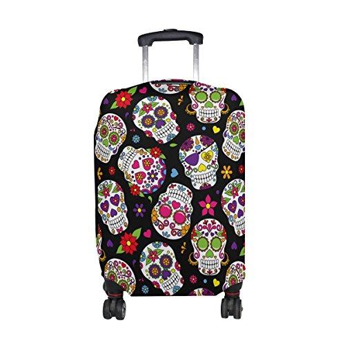 Sugar Skull Dia De Los Muertos Luggage Cover Travel Suitcase Protector Fits 26-28 Inch Luggage