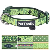 PetTastic Best Adjustable Small Dog Collar Durable Soft & Heavy Duty with Cute Patrick's Green Design, Outdoor & Indoor use Comfort Dog Collar for Girls, Boys, Puppy, Adults, Including ID Tag Ring