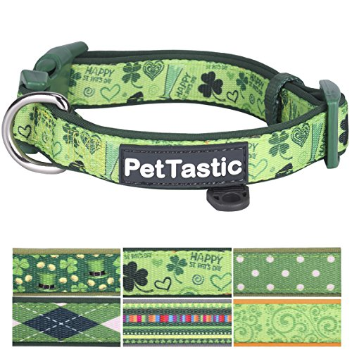 Best Adjustable Small Dog Collar - PetTastic Durable Soft & Heavy Duty with Cute Patrick's Green Design, Outdoor & Indoor use Comfort Dog Collar for girls, boys, puppy, adults, including ID Tag Ring]()