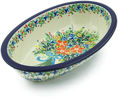 Polish Pottery 11-inch Oval Baker made by Ceramika Artystyczna (Blue Ribbon Bouquet Theme) Signature UNIKAT + Certificate of Authenticity ()