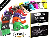"""Kinesiology Tape Pro (2 Pack or 1 Pack) Physix Gear Sport, 2"""" x 16.5 Uncut, Best Waterproof Muscle Support Adhesive, Physio Therapeutic Aid, Includes 82pg Step by Step Taping E-Guide"""