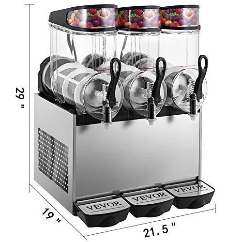 VEVOR 110V Slushy Machine 12L*3 Triple-Bowl Slush Frozen Drink Machine 900W Frozen Drink Maker Ice Slushies for Supermarkets Cafes Restaurants Snack Bars Commercial Use by VEVOR (Image #1)